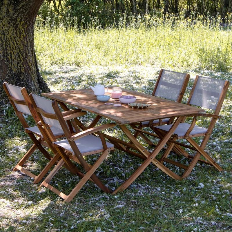 Salon de jardin en bois d'acacia FSC gris 4 places HANOÏ