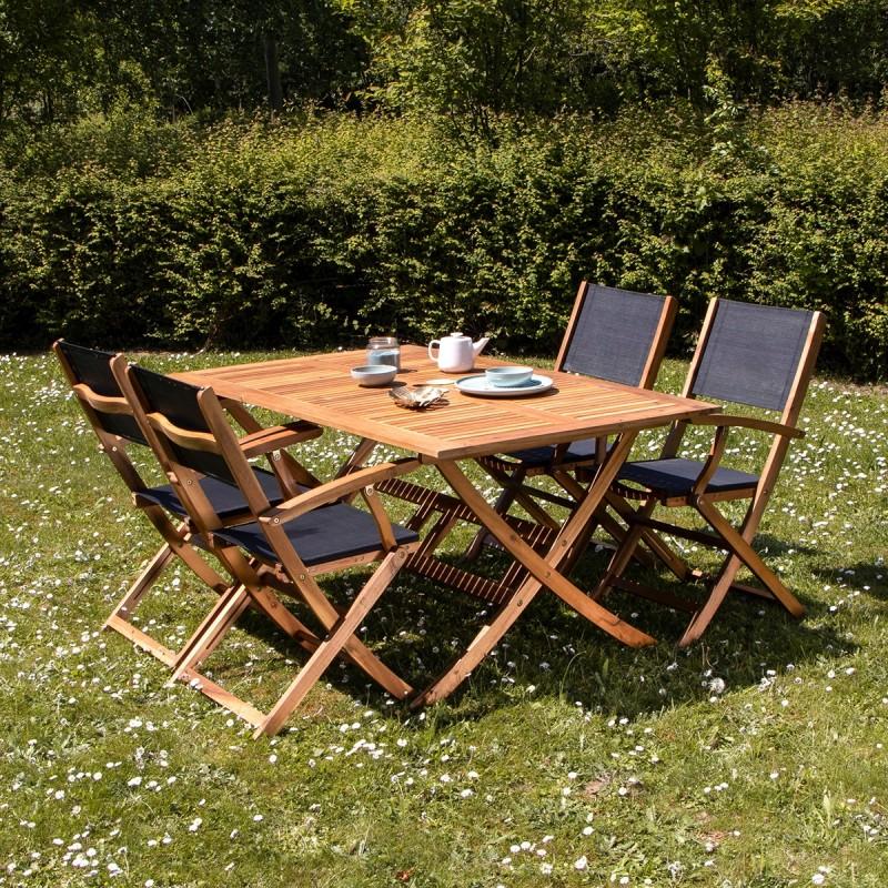 Salon de jardin en bois d\'acacia FSC noir 4 places HANOÏ - Bois Dessus Bois  Dessous