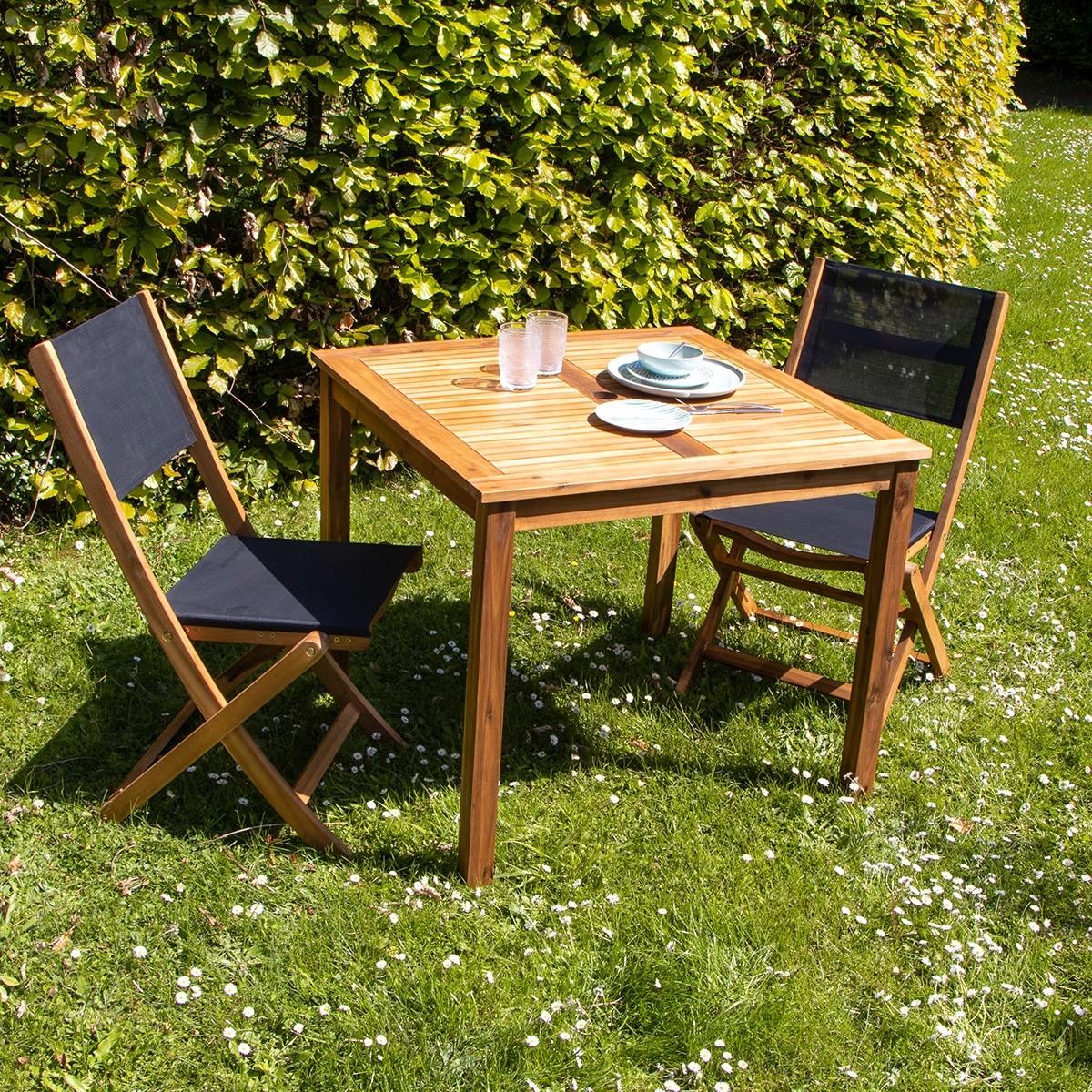 salon de jardin carr en bois d 39 acacia fsc noir 2 places. Black Bedroom Furniture Sets. Home Design Ideas