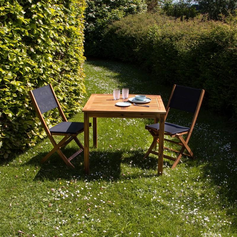 Salon de jardin carré en bois d\'acacia FSC noir 2 places HANOÏ - Bois  Dessus Bois Dessous
