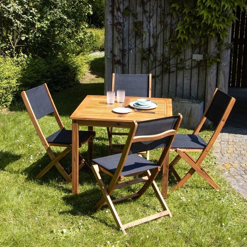 Salon de jardin carré en bois d\'acacia FSC noir 4 places HANOÏ