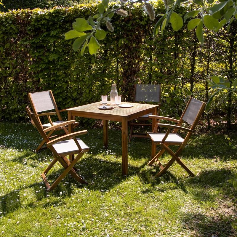 Salon de jardin carré en bois d\'acacia FSC gris 4 places HANOÏ - Bois  Dessus Bois Dessous