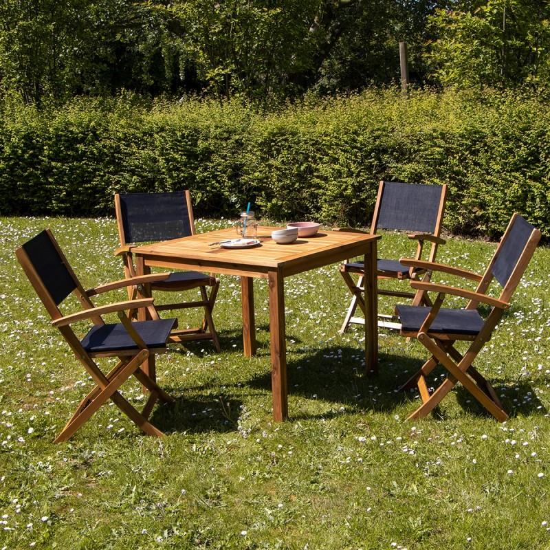 Salon de jardin carré en bois d\'acacia FSC noir 4 places HANOÏ - Bois  Dessus Bois Dessous