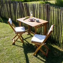 Set de balcon en bois d'acacia 2 places coussins inclus