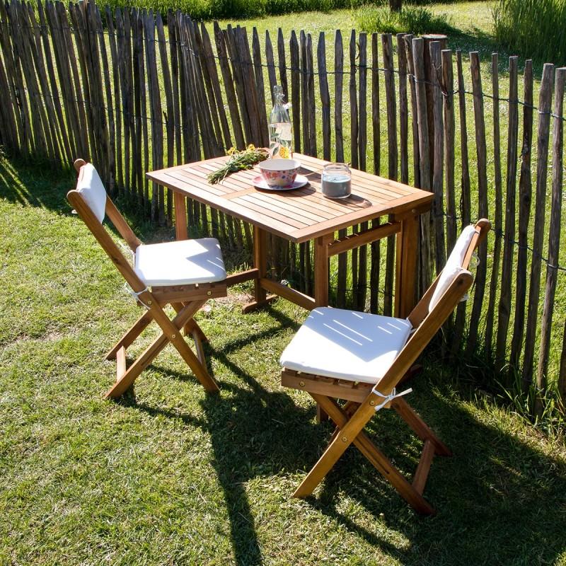 Ensemble de balcon en bois d\'acacia 2 places coussins inclus