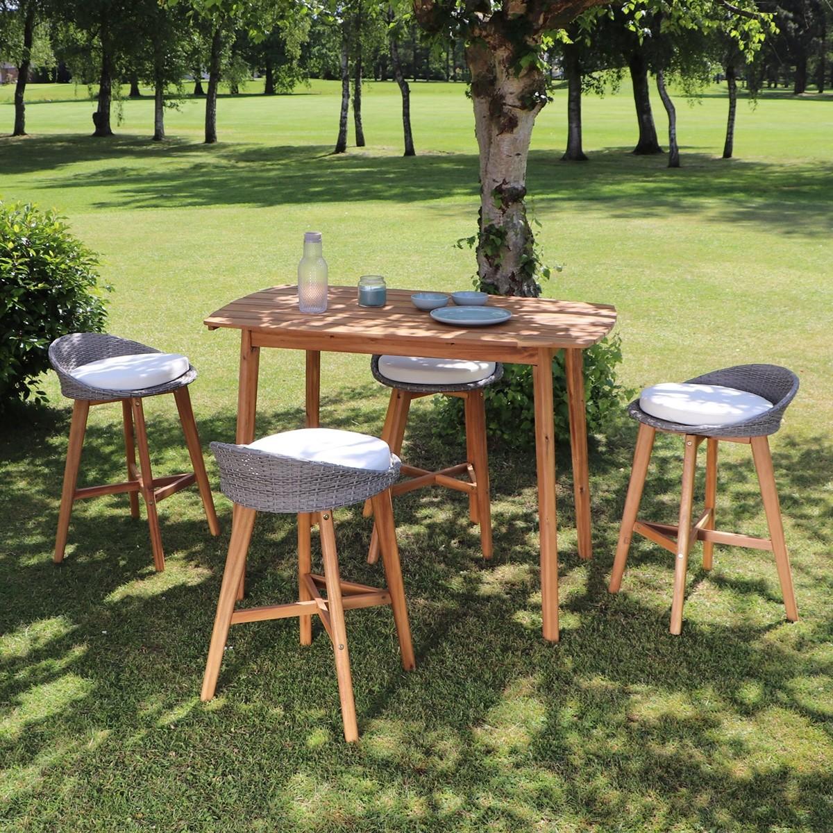 Salon de jardin haut en bois d\'acacia 4 places | Bois Dessus ...
