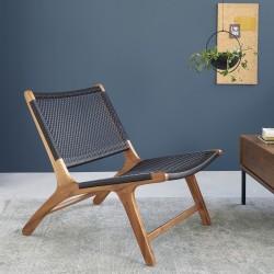 Fauteuil relax en bois de teck et tissage