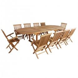 Salon de jardin en bois de teck MIDLAND 10/12 places