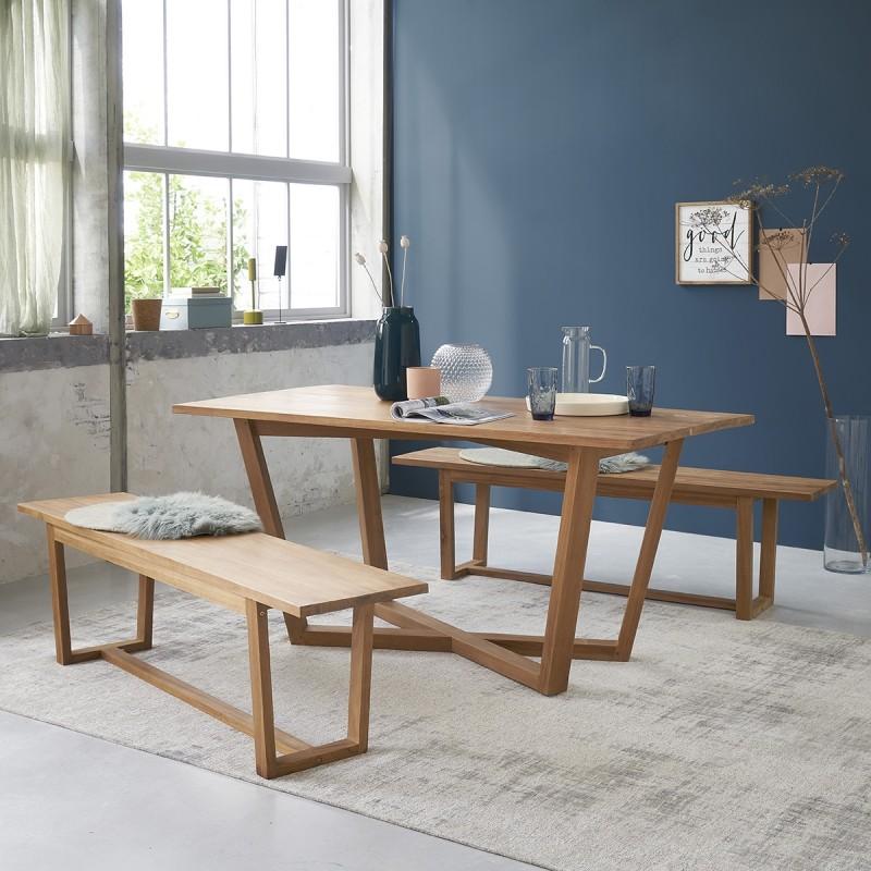 Ensemble table et bancs en bois de teck 8 personnes
