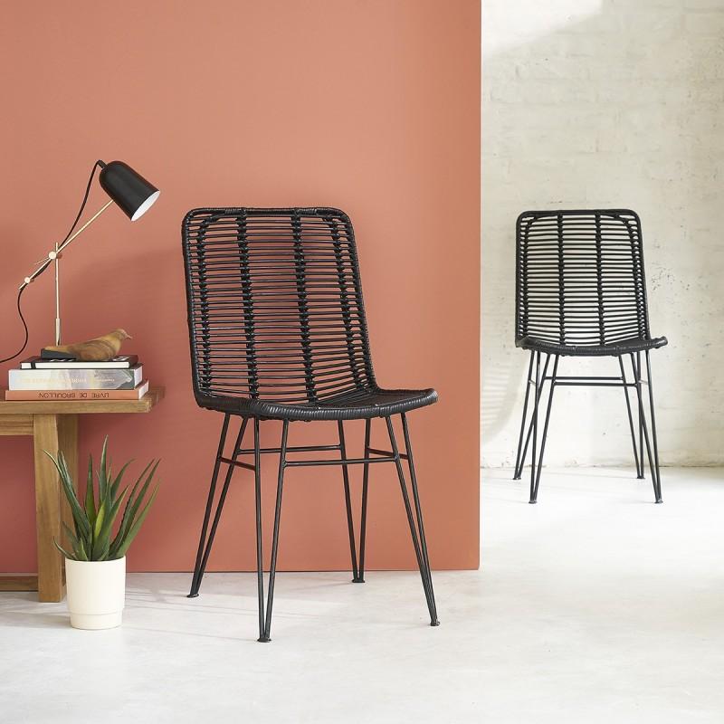 Lot de 2 chaises en rotin noir et pieds métal BOHEMA