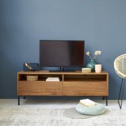 Meuble TV en bois de teck et métal 140 LINA