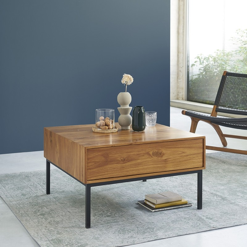 Table basse en bois de teck et métal 70 LINA