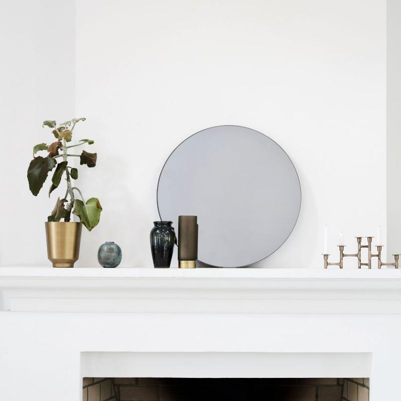 Miroir rond vintage gris