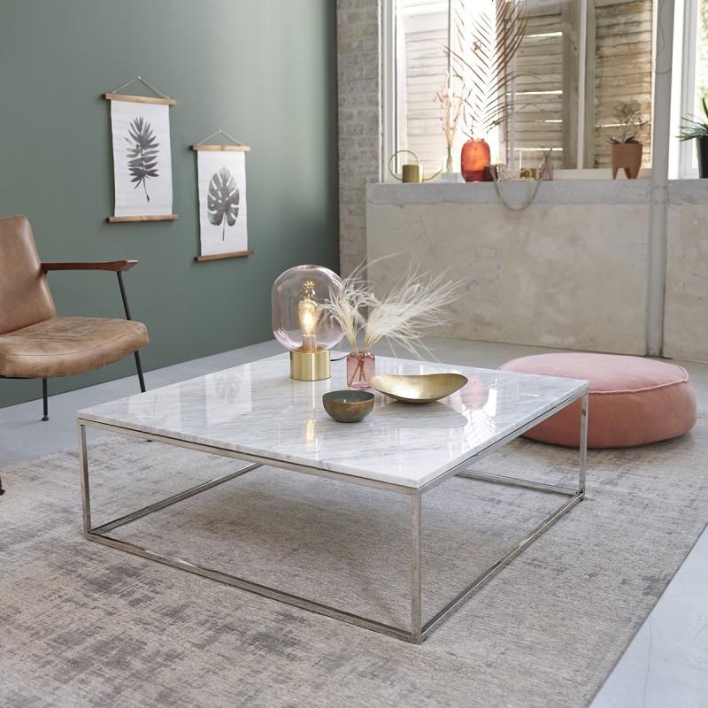Table basse carrée en marbre blanc et métal 100