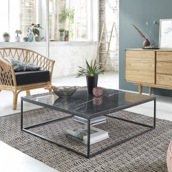 Table basse carrée en marbre noir et métal 100