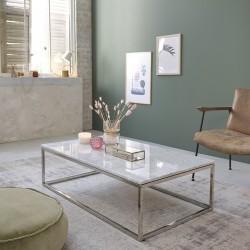 Table basse rectangulaire en marbre blanc et métal 120