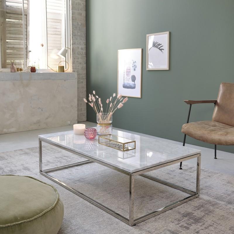 tout neuf 2d985 2ec39 Table basse rectangulaire en marbre blanc et métal 120 - Bois Dessus Bois  Dessous