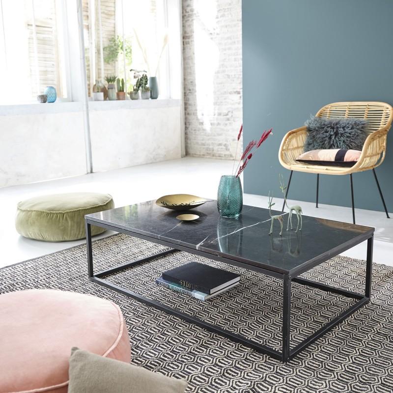 Table basse rectangulaire en marbre noir et métal 120
