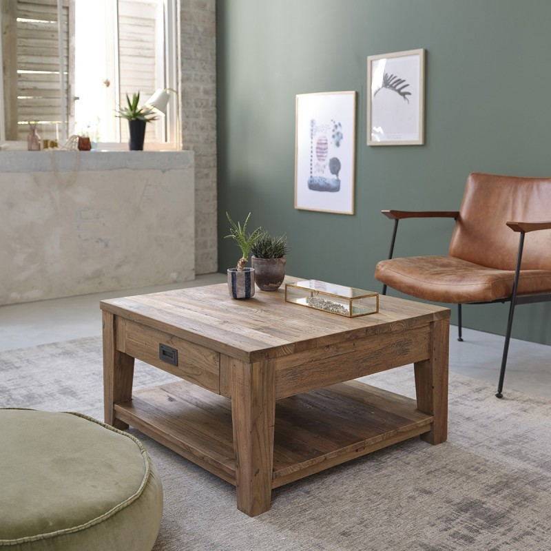 Table basse en bois de teck recyclé CARGO 80 cm