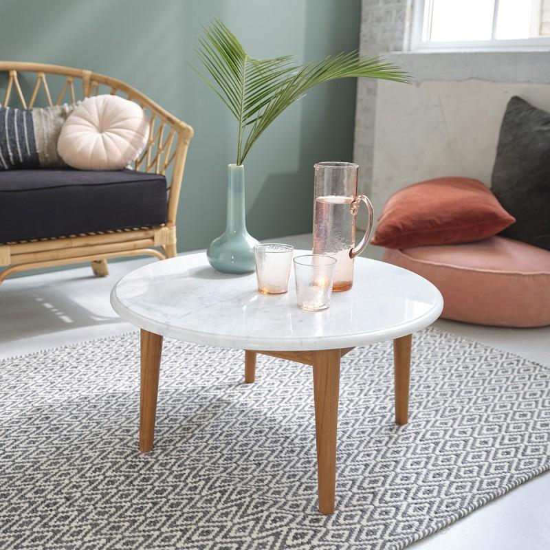 table basse ronde en marbre blanc et bois de teck 70. Black Bedroom Furniture Sets. Home Design Ideas