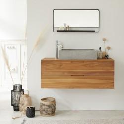 Meuble de salle de bain en bois de teck suspendu 115