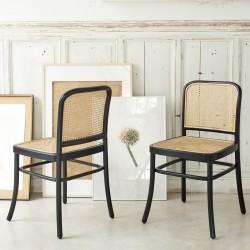 Lot de 2 chaises en bois de mindy et cannage
