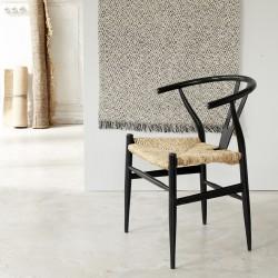 Chaise en bois de mindy assise tissée noire
