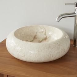 Vasque donuts en pierre de marbre blanc