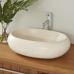 Vasque ovale Terrazzo Resin blanc