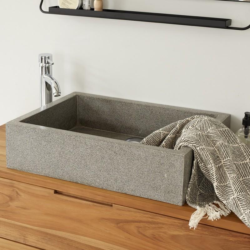 Vasque rectangulaire Terrazzo Resin gris