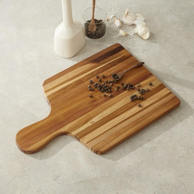 Planche à découper en bois de teck avec poignées