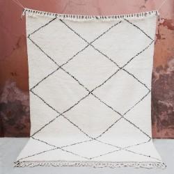 Tapis Beni Ouarain géométrique en laine, 196x283