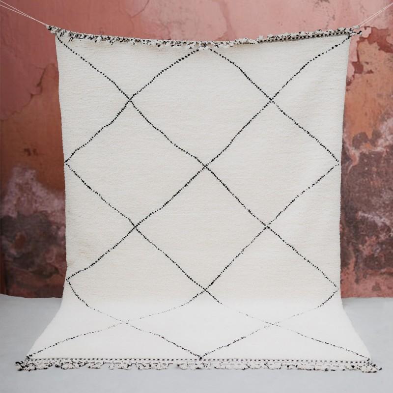 Tapis Beni Ouarain géométrique en laine, 192x293