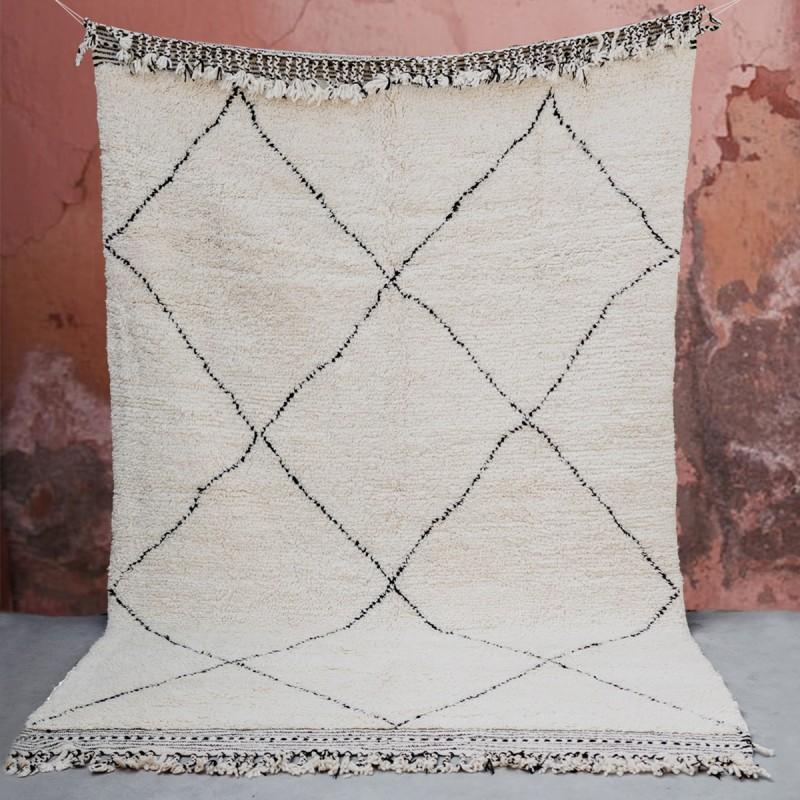 Tapis Beni Ouarain géométrique en laine, 195x307