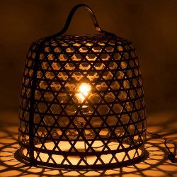 Lampe à poser en bambou noir et métal
