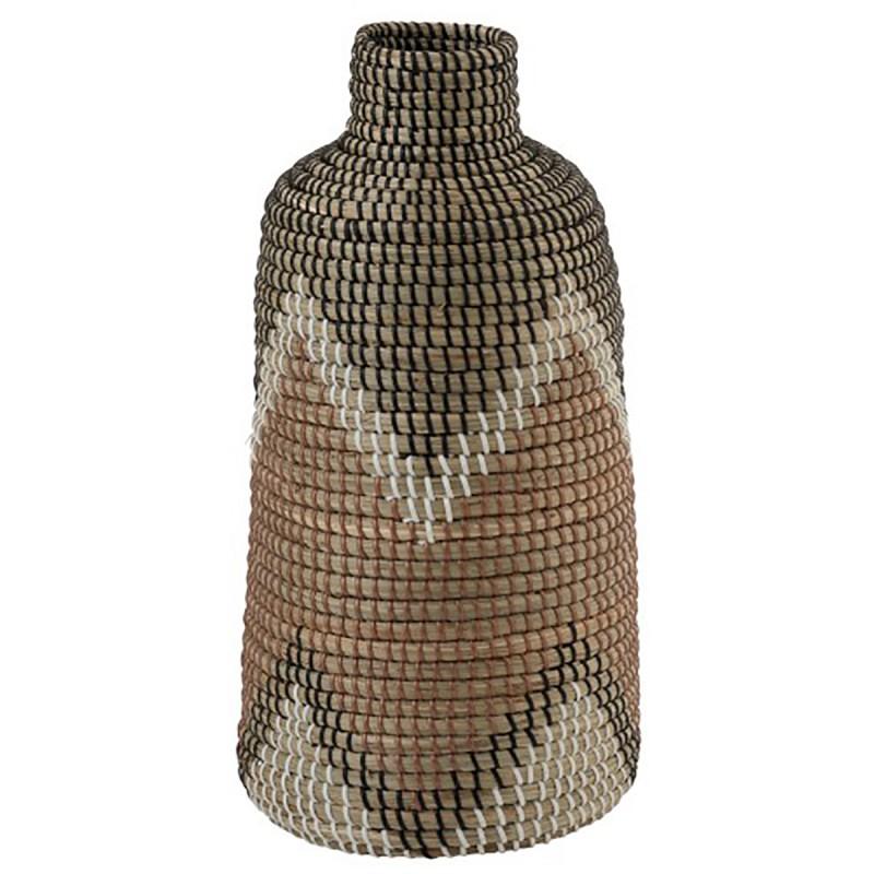 Vase à motifs en fibres naturelles