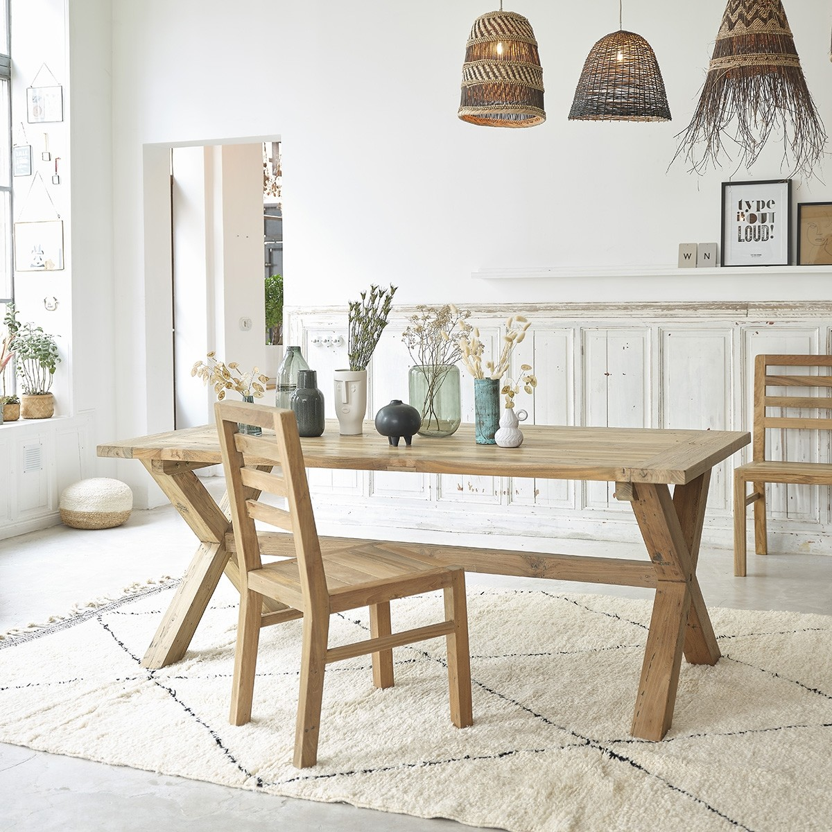 table en bois de teck recycle 8 personnes cargo