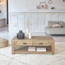 Table basse en bois de teck recyclé CARGO rect 120 cm