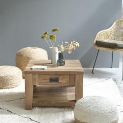 Table basse en bois de teck recyclé CARGO 60 cm
