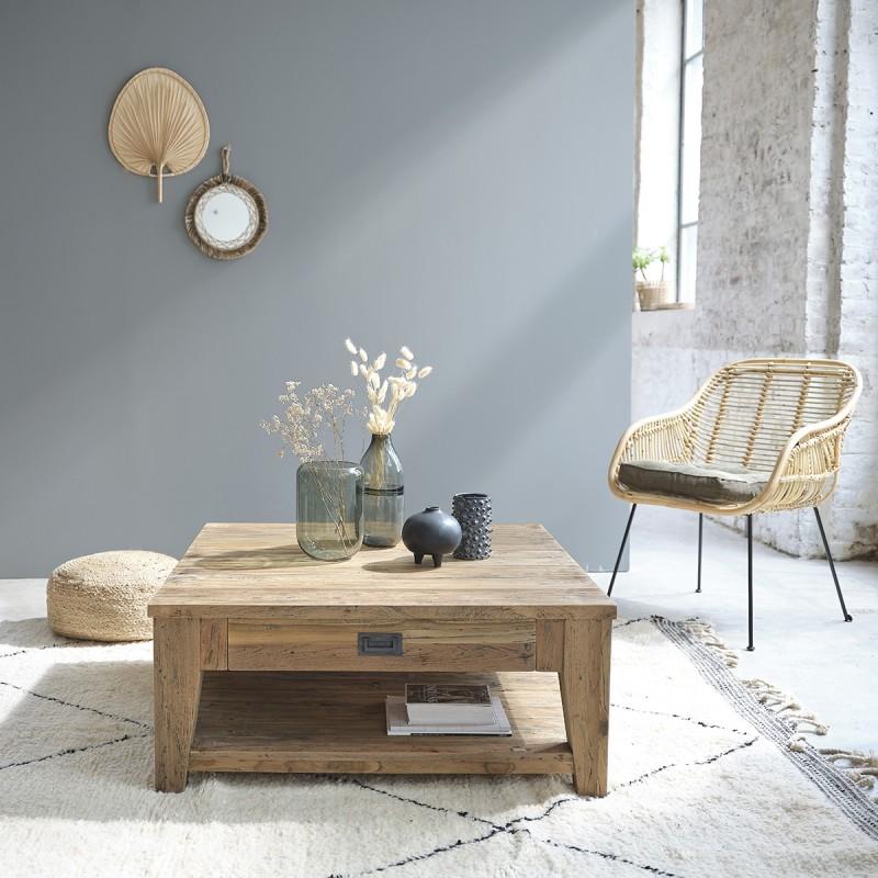 Table basse en bois de teck recyclé CARGO 100 cm