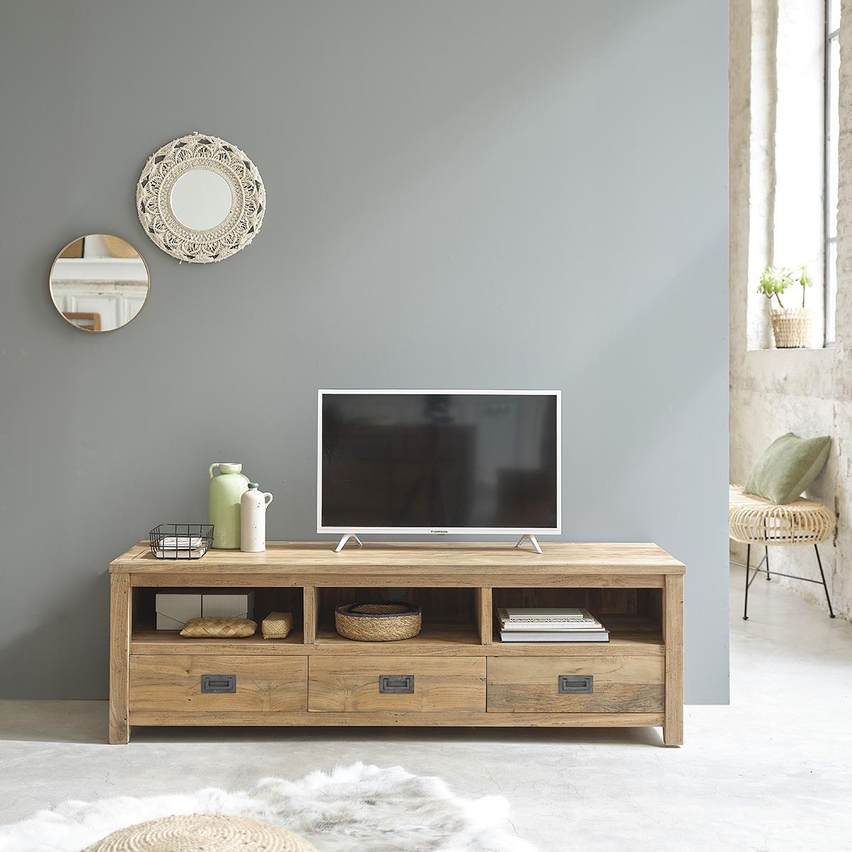 Deco Murale Au Dessus Tele meuble tv en bois de teck recyclé 160 cargo   bois dessus