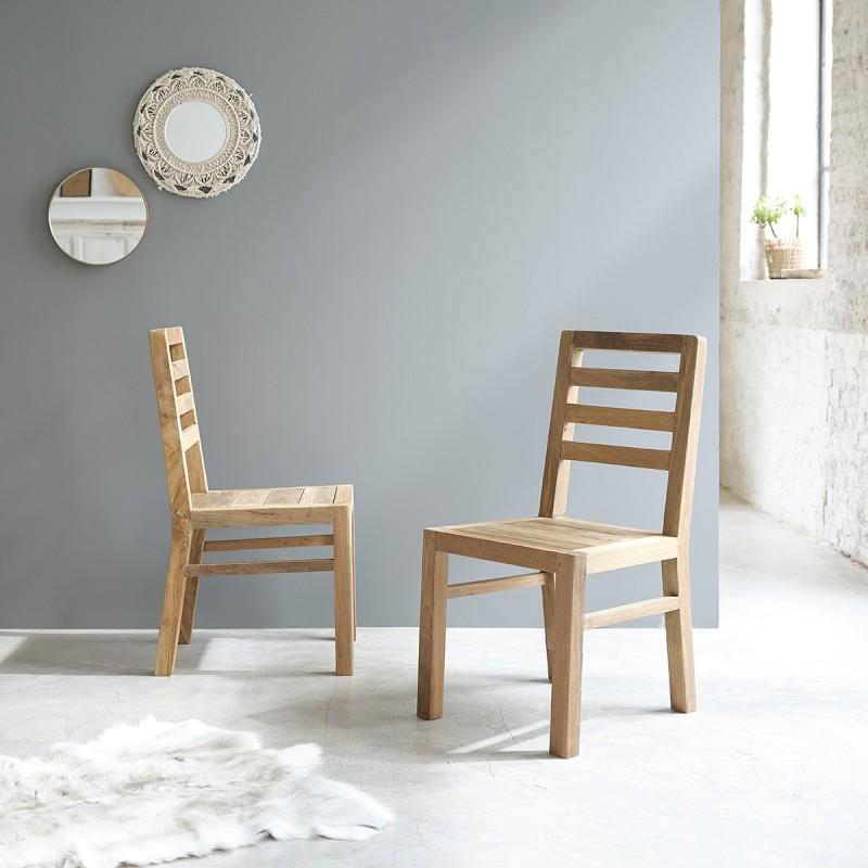 Lot de 2 chaises en bois de teck recyclé CARGO