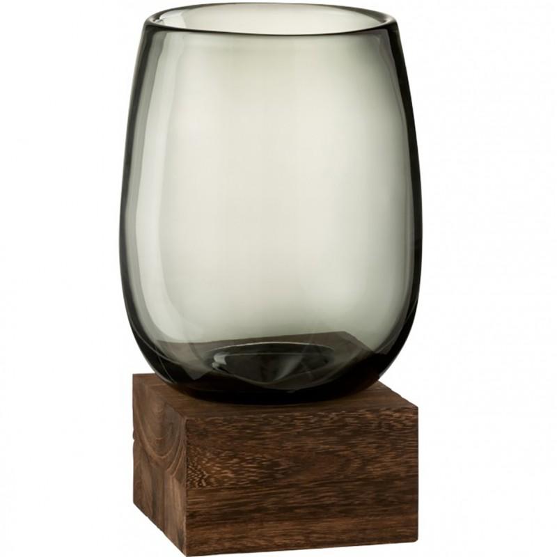 Vase transparent gris et structure bois